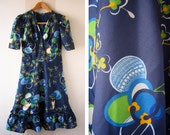 navy retro pattern dress