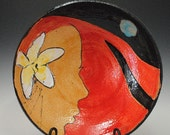 Ceramic Bowl: Red head Woman with Frangipani Flower Red Stoneware Pottery