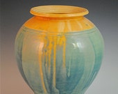 Beach Sand and Ocean Vase: Blue and Wheat