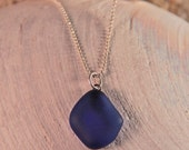 cobalt recycled glass pendant