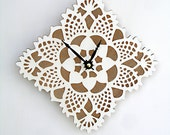 white square doily clock - uncommon