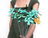 spring flowers for mother's day, set of NINE - choose from aqua, tangerine, red, chartreuse
