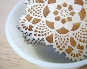 wood coasters with doily pattern laser engraved water safe