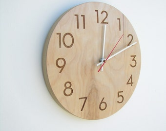 10 inch modern wood wall clock