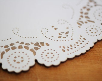 large white doily modern tabletop