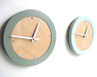 simple wood wall clock ash grey