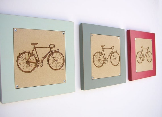 retro revival bicycle engraving