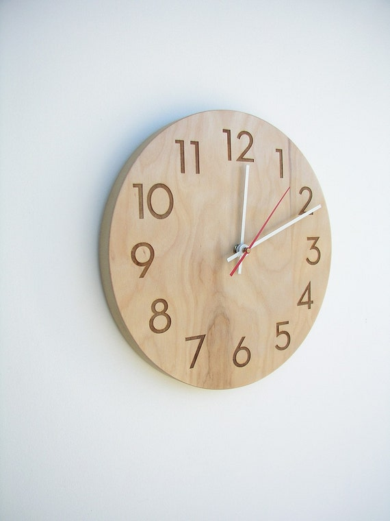 10 inch medium size modern wood wall clock with beautiful