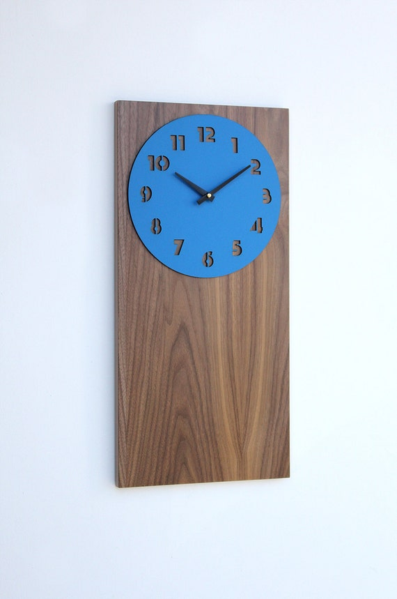 retro modern walnut wall clock