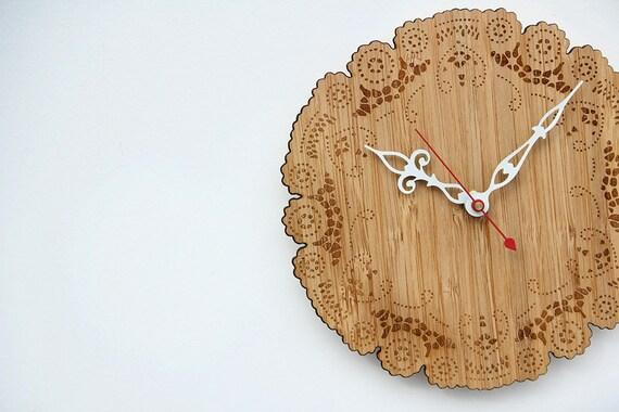 caramel bamboo doily clock