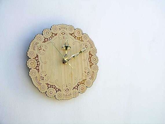 rustic cottage chic bamboo doily clock with brass hands