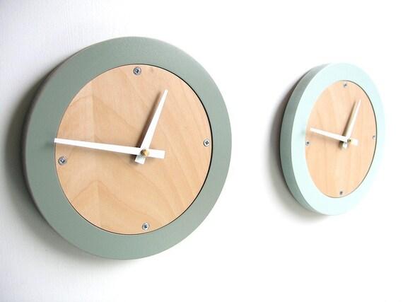 simple wood wall clock ash grey