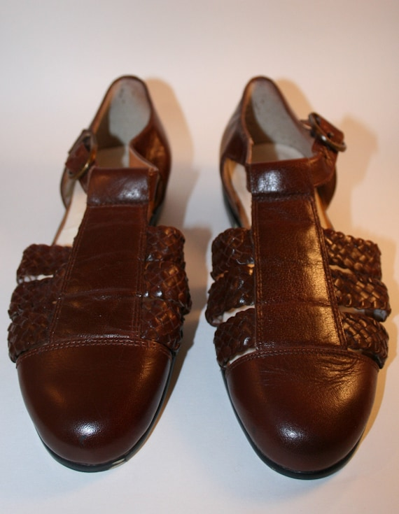New Price Vintage Brown Woven Leather Huaraches Sandals Sz. 5 1/2 M