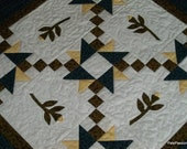 Patchwork Quilted Table Topper With 3D Applique Roses Blue Yellow Green