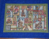 Easter or Spring Quilted Place Mats with Rabbits  Set of 4