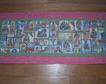 Spring or Easter Quilted Table Runner Rabbits or Bunnies