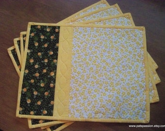Floral Quilted Placemats,Quilted Patchwork Placemats, Green Yellow White Placemats Set of 4