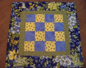 Quilted Table Topper, Quilted Table Mat Quilted, Blue Yellow Runner, Quilted Patchwork Topper