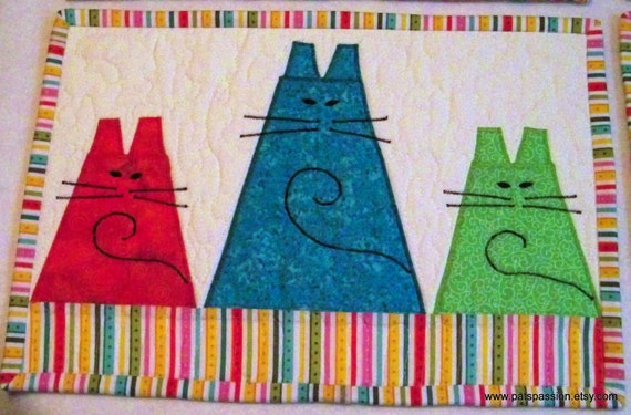 Quilted Placemats Three Fat Cats Applique Set of 4
