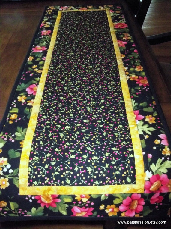 Table Runner Quilted Black Floral