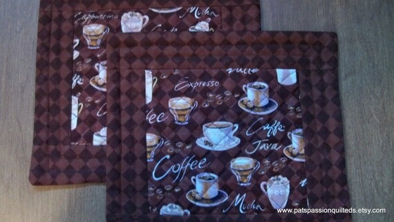 Quilted Mini Mats or Mug Rugs Coffee Lover  Set of 2