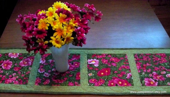 Summer Garden Floral Table Runner in Pinks and Greens