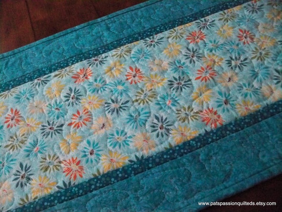Turquoise Floral Quilted Table Runner Patchwork
