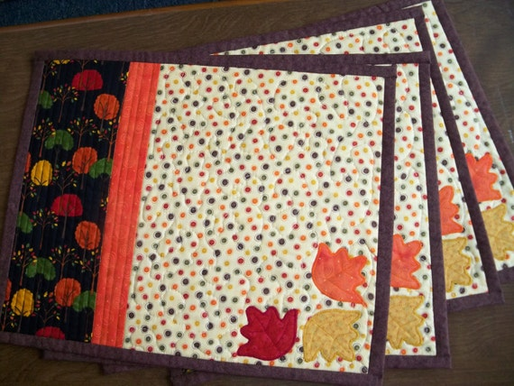 Applique Leaves Fall Quilted Place Mats Set of 4