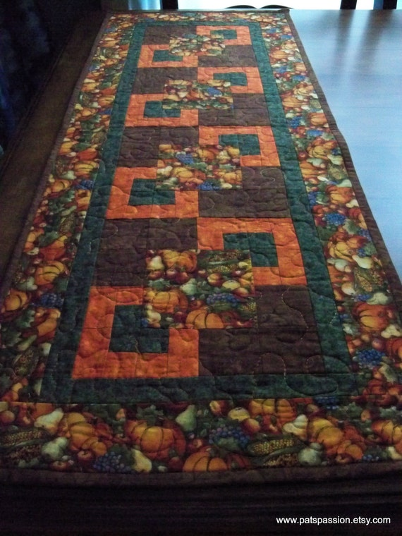 Fall Table Runner Quilted Browns, Greens and Oranges