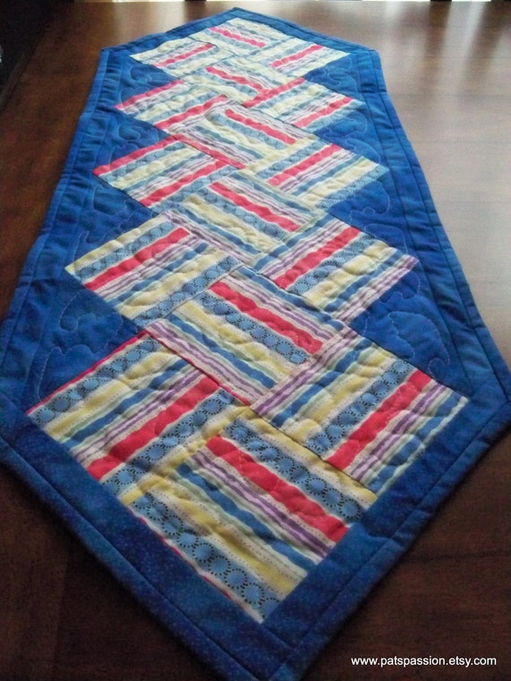 Blue Quilted Table Runner Patchwork Striped