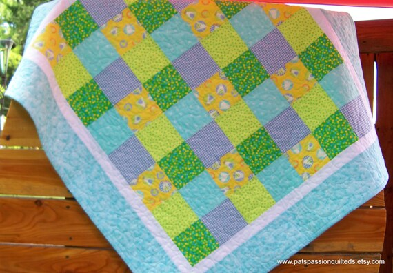 Baby Boy Patchwork Quilt or Crib Quilt with Minky Backing Blues Yellows Aqua Greens Frogs