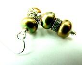 Green pearl earrings, fall wedding jewelry, freshwater pearls,... Green Goddess earrings