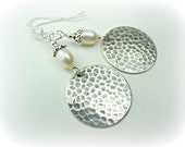 Hammered Silver Disc Earrings with freshwater pearls