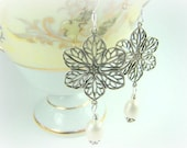 Pearl earrings, filigree silver flowers, pearl dangles...Floral Lace
