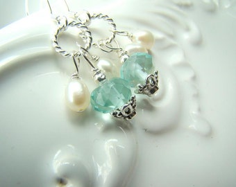 Those baby blues... pale blue crystal quartz, pearls, sterling silver earrings