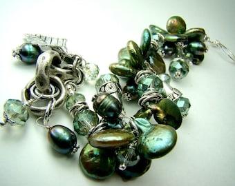 Green pearl statement bracelet, crystal chunky charm bracelet...The Vineyard
