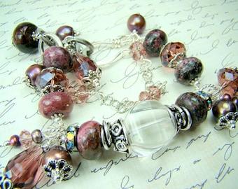 Plum gemstone bracelet, chunky pearl crystal charm bracelet,  double strand beaded  bracelet,...SUGAR PLUM