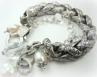 Chunky silver chain bracelet, pearl charm bracelet, double strand silver charm bracelet