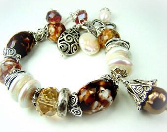 Gemstone, pearl charm bracelet... ROCKY ROAD