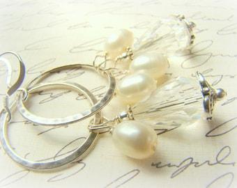 Pearl dangle earrings, crystal chandelier earrings, hammered silver hoops, ... LOLITA