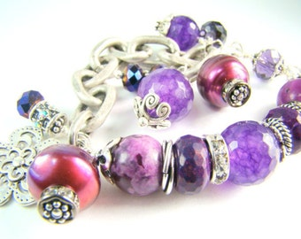 Purple stones, pearls, crystal, silver beaded charm bracelet... PASSION in PLUM