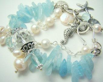 Aquamarine bracelet, chunky pearl charm bracelet, pale blue double strand,... AQUAMARINE DREAMS
