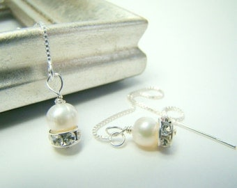 Pearl earrings, long sterling threads, sterling silver chain, rhinestones... PEARL THREADS