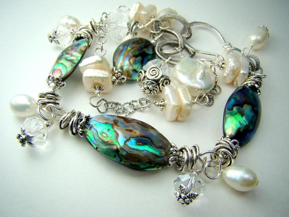 Abalone and freshwater pearl bracelet, double strand, crystal, sterling silver