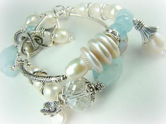 Aquamarine bracelet, blue and white, double strand pearl bracelet, bridal jewelry,...WATERFALL