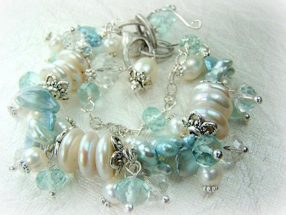 Love Those Baby Blues... crystal quartz, pearls and silver charm bracelet