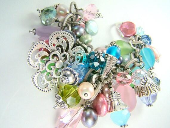 RESERVED for Ben...Pastel cha cha bracelet, chunky pearl charm bracelet, statement bracelet... BOUQUET