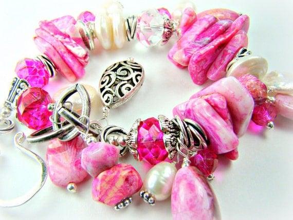 RESERVED for Rene...Hot pink chunky bracelet, bright pink gemstones pearls crystal, cha cha charm bracelet... FLIRT