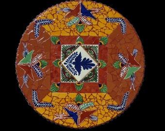 Lazy Susan Mosaic, Table Top, or Wall Hanging Made with Talavera Tile, Bird Mosaic Lazy Susan, Southwestern Decor