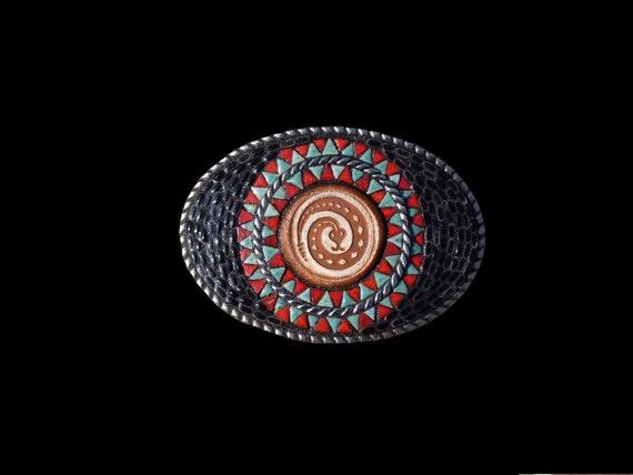 Unisex Southwestern Western Native American Style Mosaic Belt Buckle